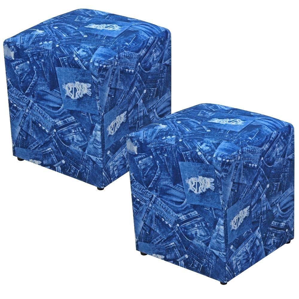Kit 02 Puffs Quadrado L02 Decorativo Tecido Azul Jeans - Lyam Decor