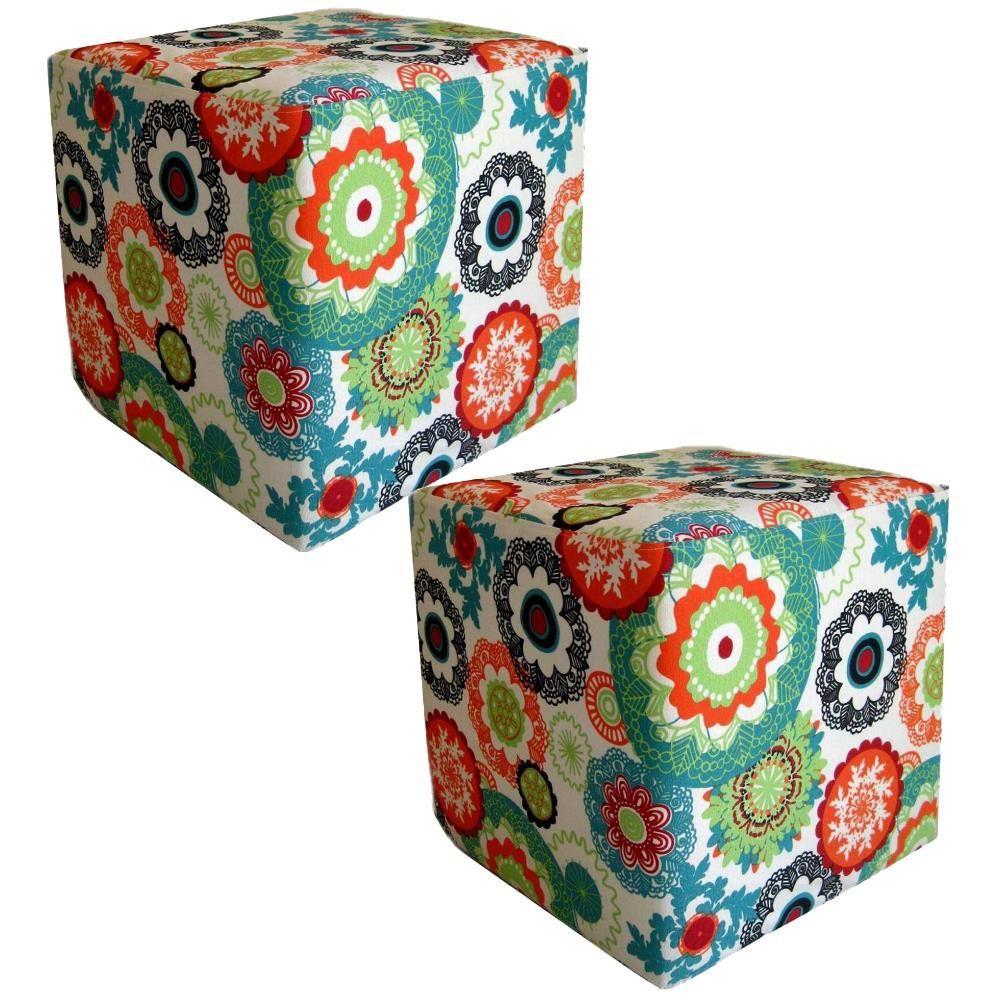 Kit 02 Puffs Quadrado L02 Decorativo Tecido Floral Laranja - Lyam Decor