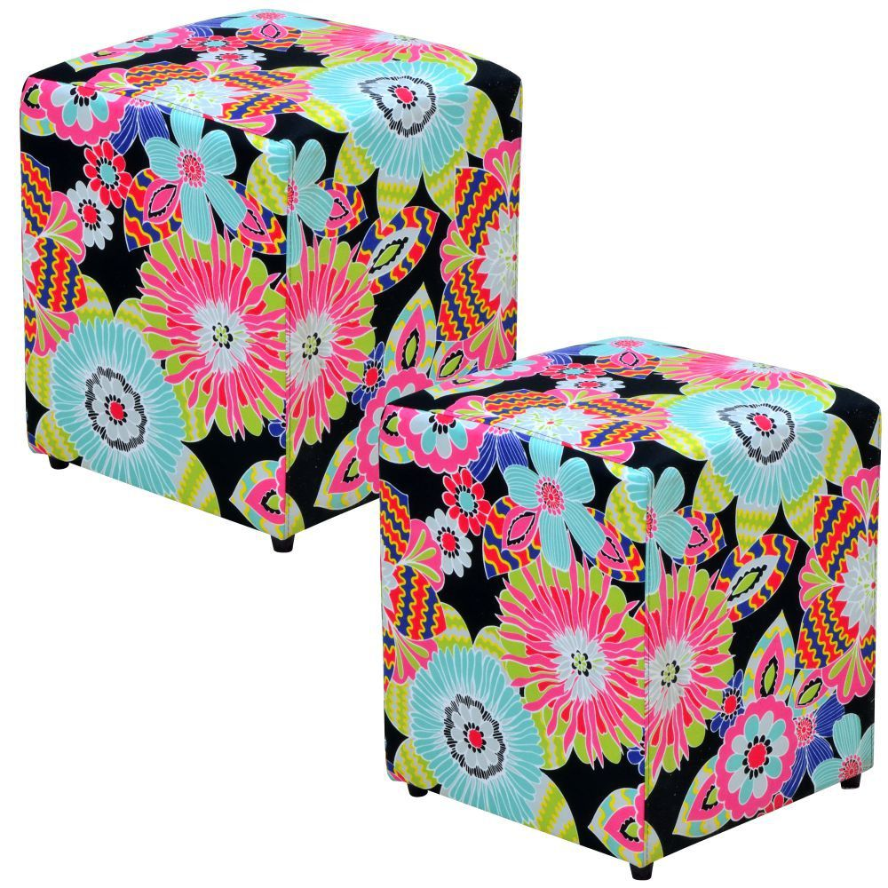 Kit 02 Puffs Quadrado L02 Decorativo Tecido Floral Preto - Lyam Decor