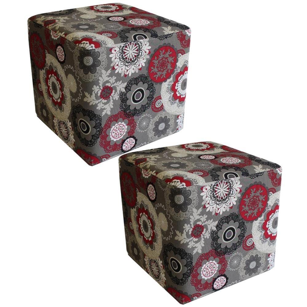 Kit 02 Puffs Quadrado L02 Decorativo Tecido Floral Vermelho - Lyam Decor