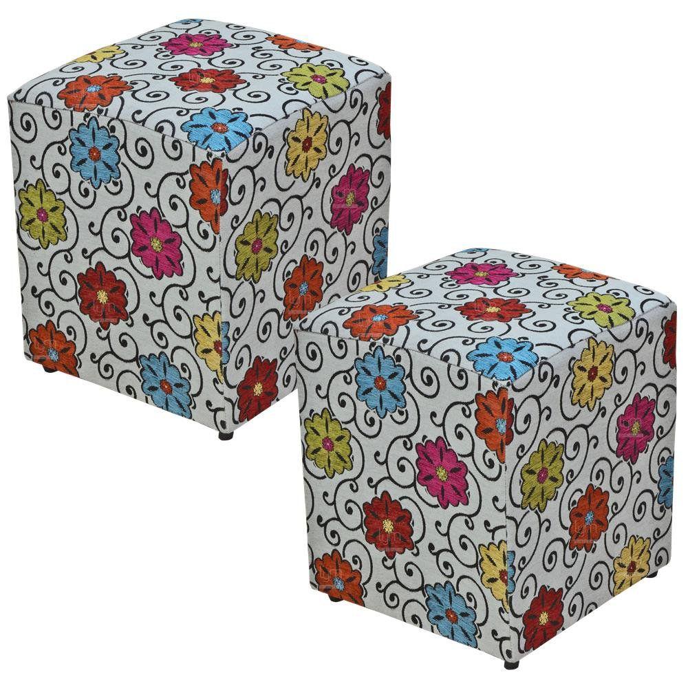 Kit 02 Puffs Quadrado L02 Decorativo Tecido Linho Floral - Lyam Decor