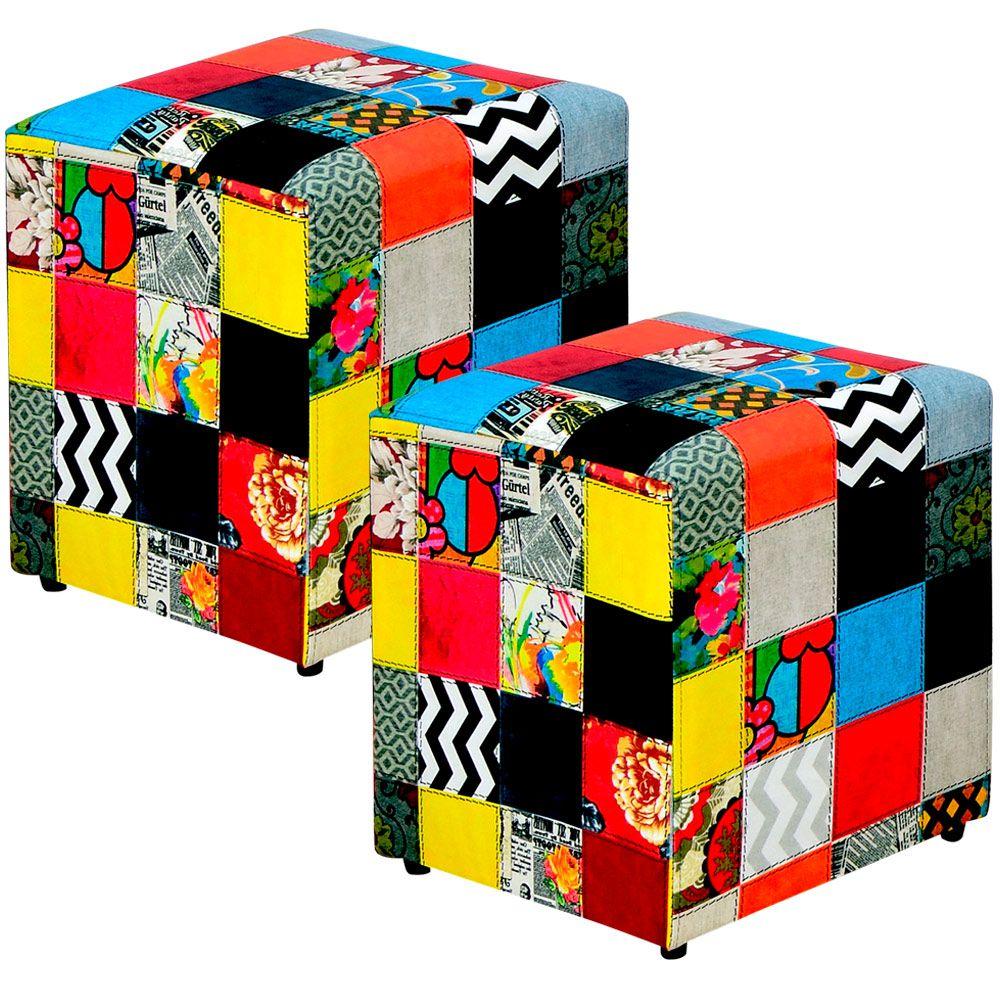 Kit 02 Puffs Quadrado L02 Decorativo Tecido Patchwork - Lyam Decor