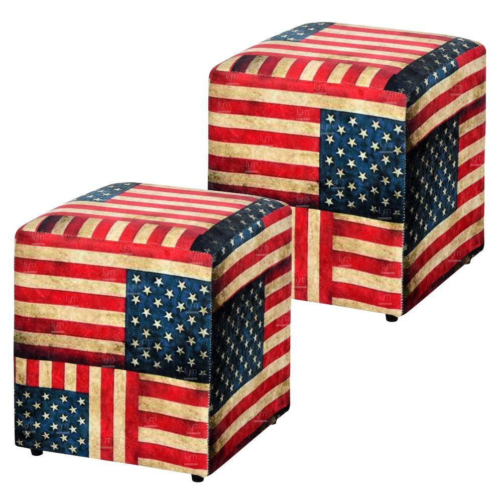 Kit 02 Puffs Quadrado L02 Decorativo Tecido Suede Bandeira - Lyam Decor
