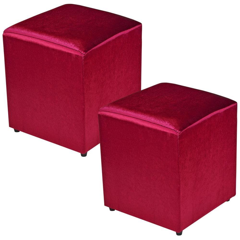 Kit 02 Puffs Quadrado L02 Decorativo Tecido Vermelho Brilho - Lyam Decor