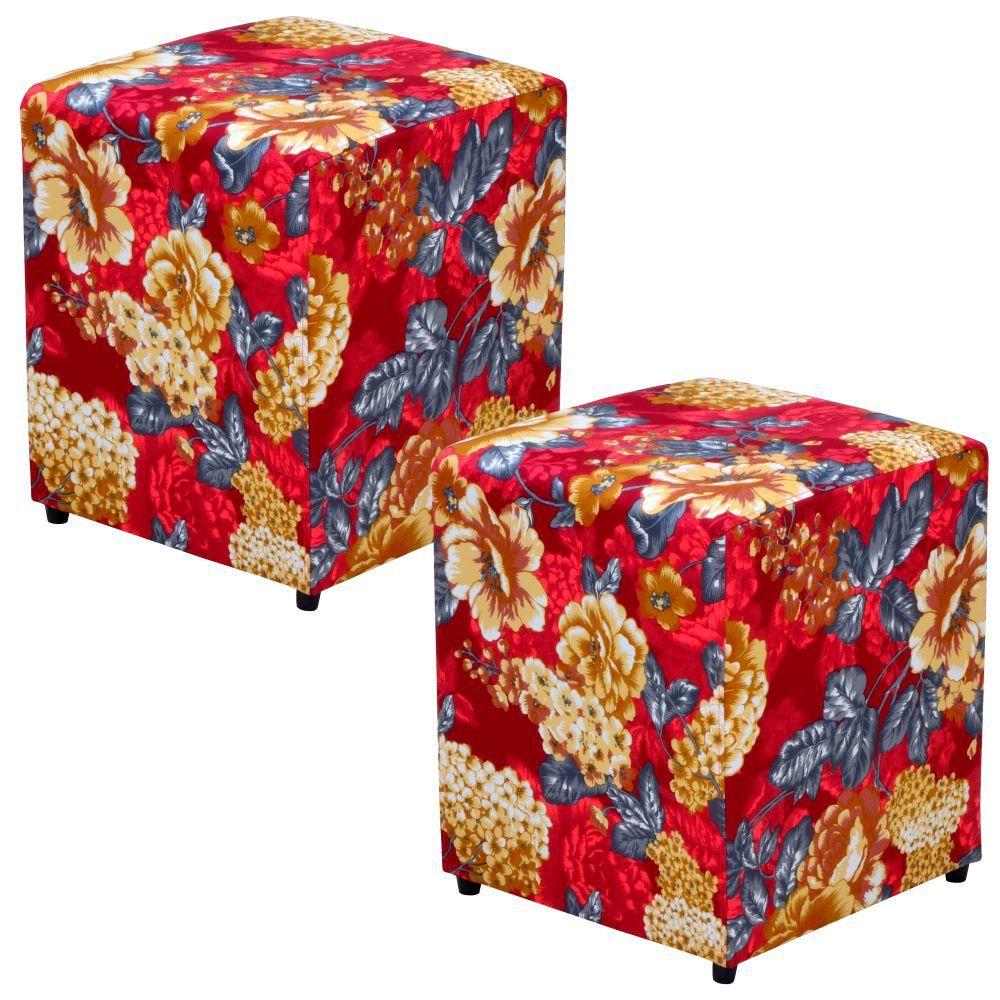Kit 02 Puffs Quadrado L02 Decorativo Tecido Vermelho Estampado - Lyam Decor