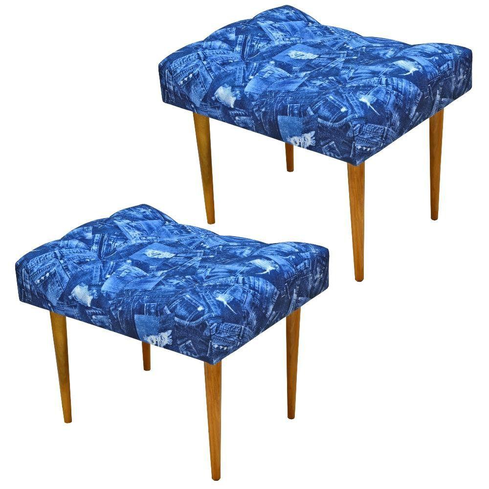Kit 02 Puffs Requinte L02 Capitone Banqueta Azul Jeans Pés Palito - Lyam Decor