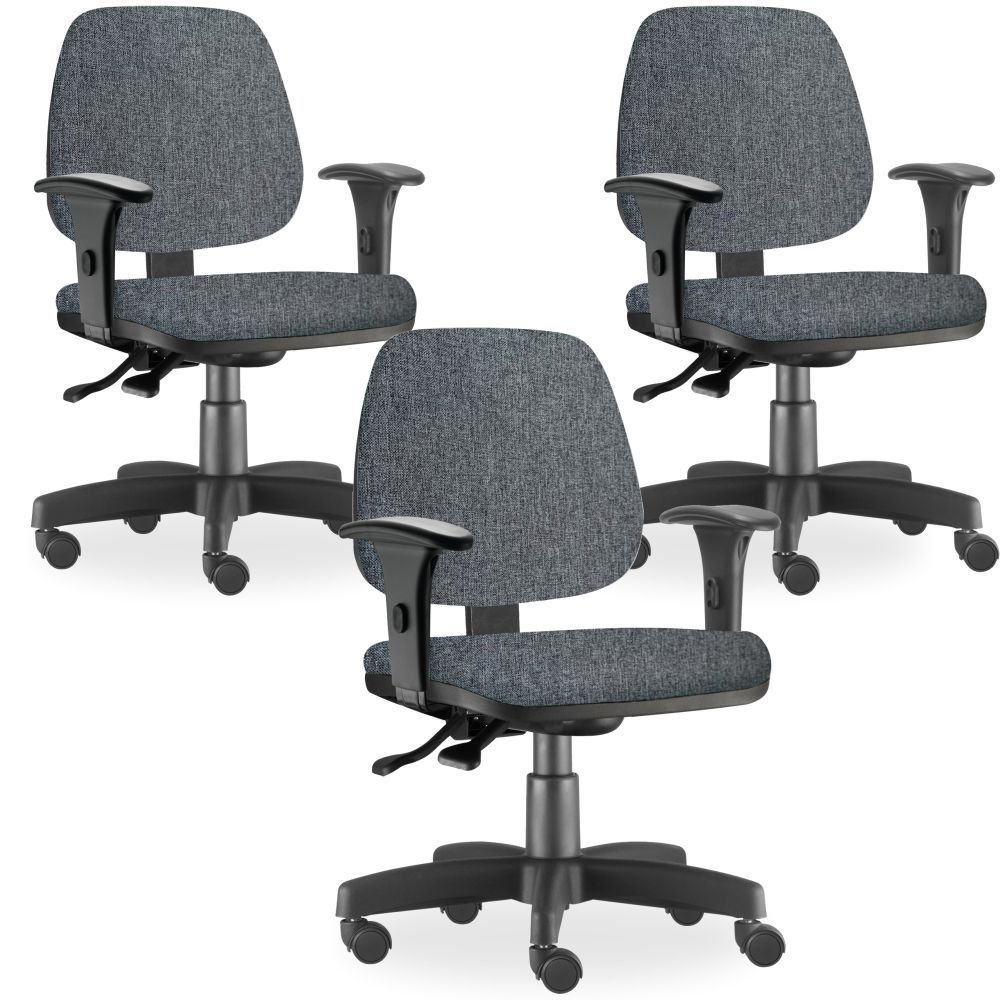 Kit 03 Cadeiras de Escritório Giratória Executiva Ergonômica Job L02 Linho Chumbo - Lyam Decor