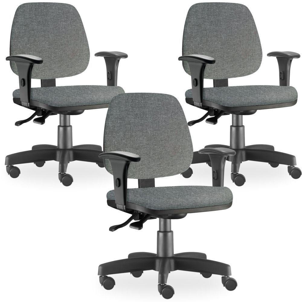 Kit 03 Cadeiras de Escritório Giratória Executiva Ergonômica Job L02 Linho Cinza Escuro - Lyam Decor