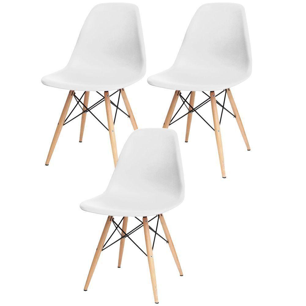 Kit 03 Cadeiras Decorativas Eiffel Charles Eames F03 Branco com Pés de Madeira - Lyam Decor