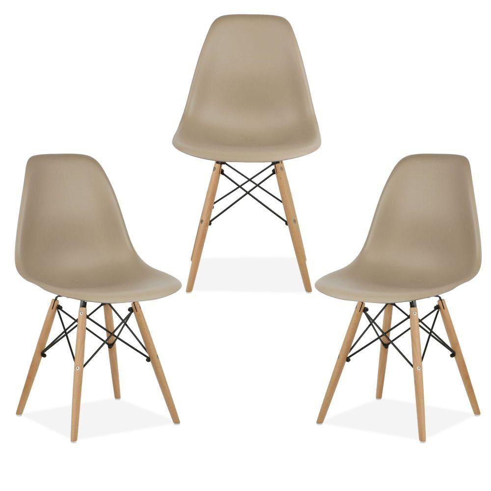 Kit 03 Cadeiras Decorativas Eiffel Charles Eames F03 Nude com Pés de Madeira - Lyam Decor