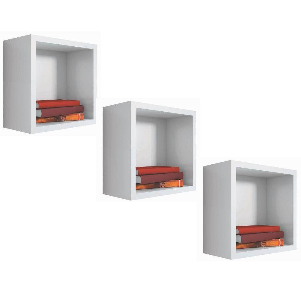 Kit 03 Nichos Quadrado Decorativo 31x31x15 S01 Branco - Lyam Decor