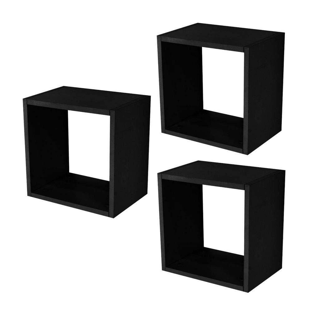 Kit 03 Nichos Quadrado Decorativo 31x31x15 S01 Preto Fosco - Lyam Decor