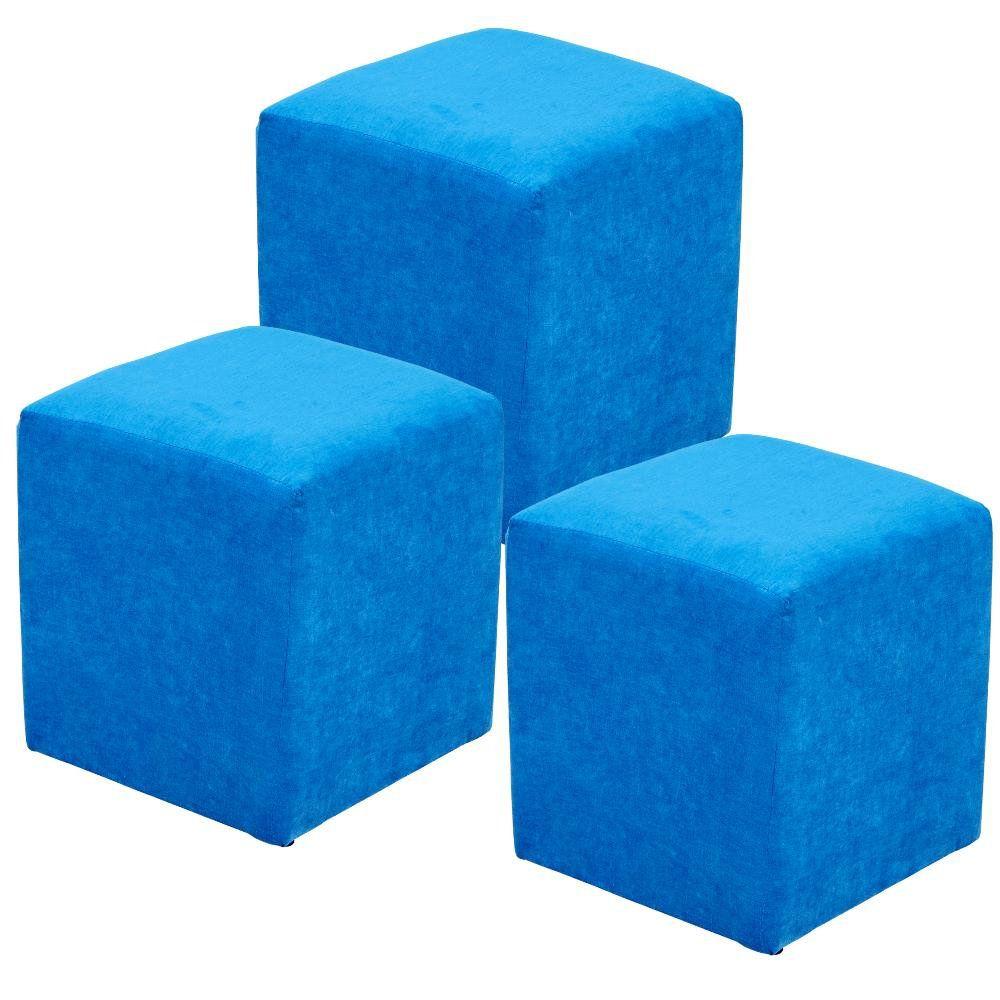 Kit 03 Puff Quadrado L02 Decorativo Tecido Azul Royal - Lyam Decor