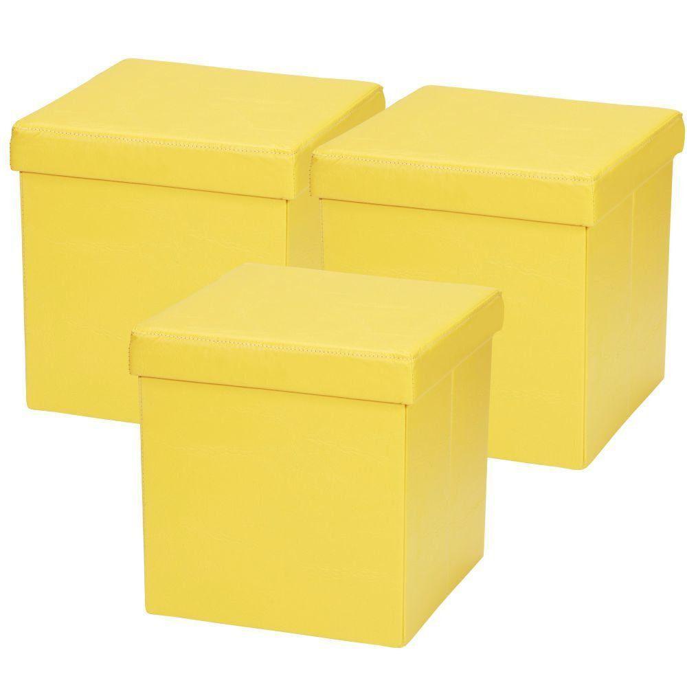 Kit 03 Puffs Baú Desmontável Para Sala Quarto Corino Amarelo 38x38 M01 - Lyam Decor