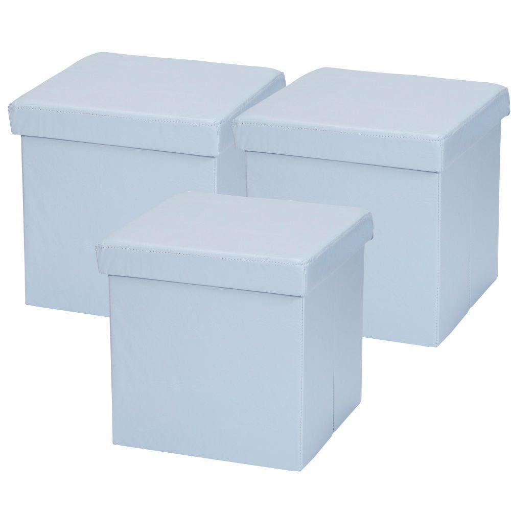 Kit 03 Puffs Baú Desmontável Para Sala Quarto Corino Azul 38x38 M01 - Lyam Decor