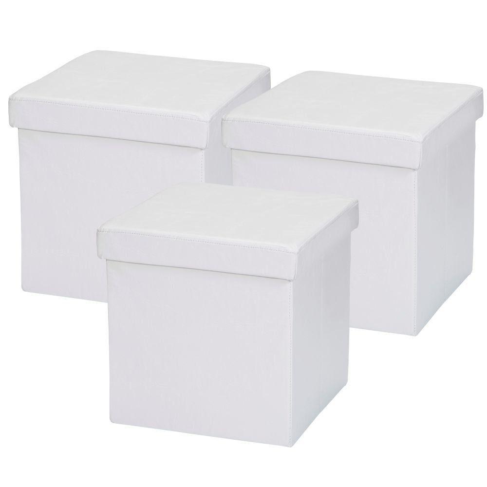 Kit 03 Puffs Baú Desmontável Para Sala Quarto Corino Branco 38x38 M01 - Lyam Decor