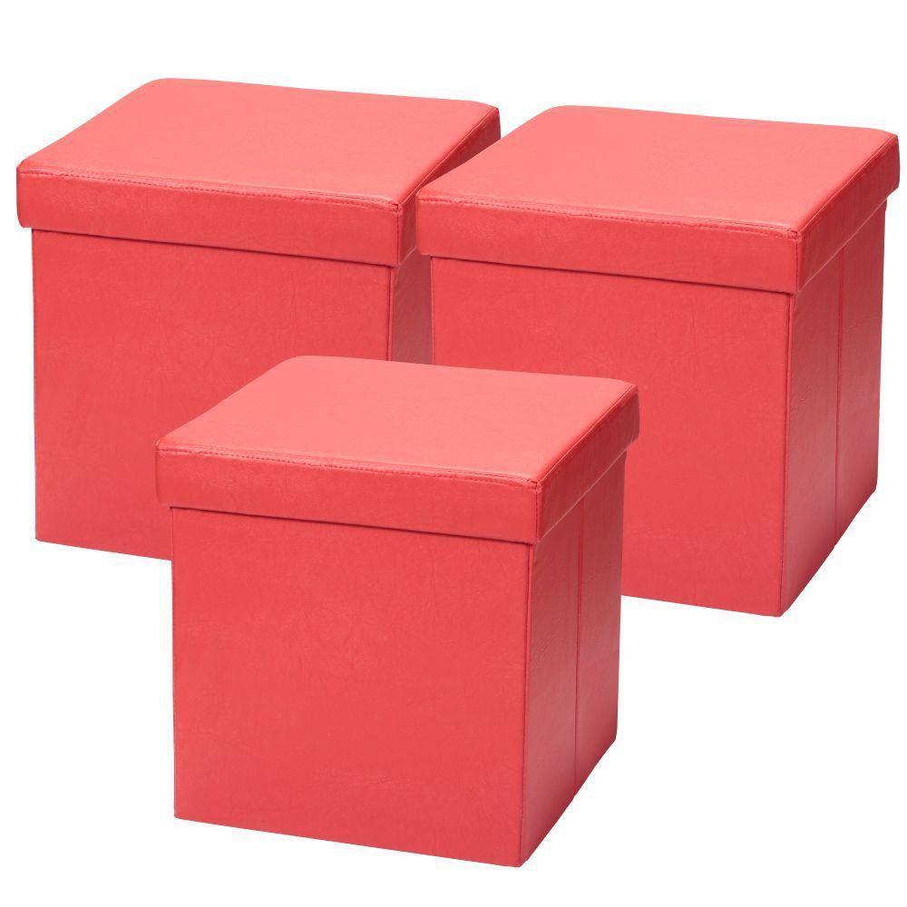 Kit 03 Puffs Baú Desmontável Para Sala Quarto Corino Vermelho 38x38 M01 - Lyam Decor