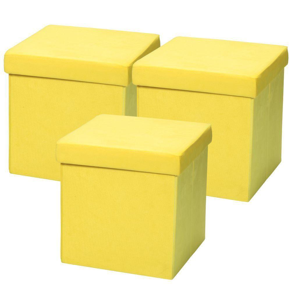Kit 03 Puffs Baú Desmontável Para Sala Quarto Suede Amarelo 38x38 M01 - Lyam Decor
