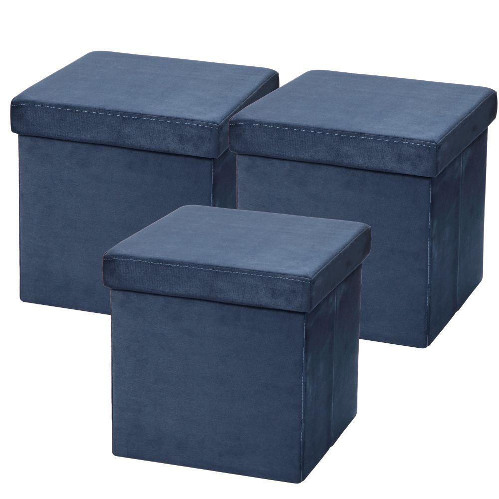 Kit 03 Puffs Baú Desmontável Para Sala Quarto Suede Azul 38x38 M01- Lyam Decor