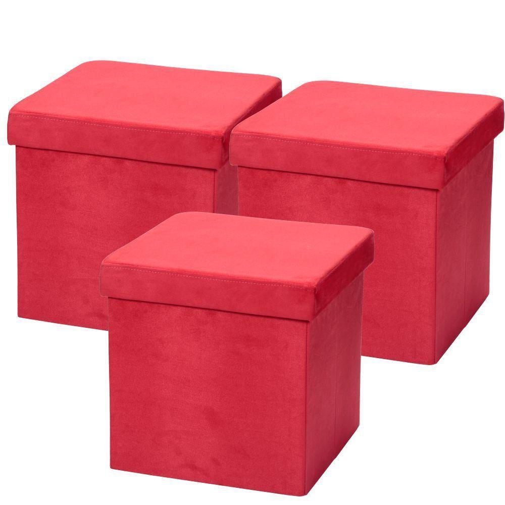Kit 03 Puffs Baú Desmontável Para Sala Quarto Suede Vermelho 38x38 M01 - Lyam Decor