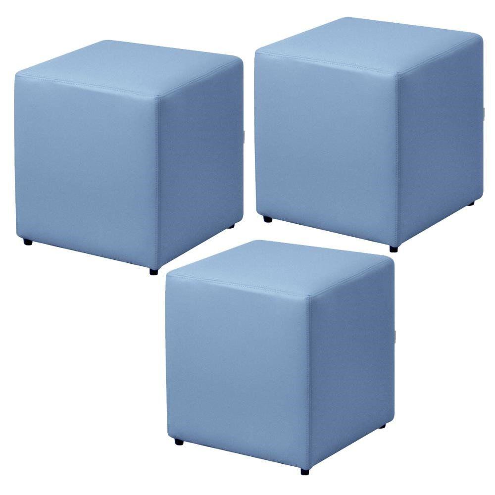 Kit 03 Puffs Quadrado L02 Decorativo Corino Azul- Lyam Decor