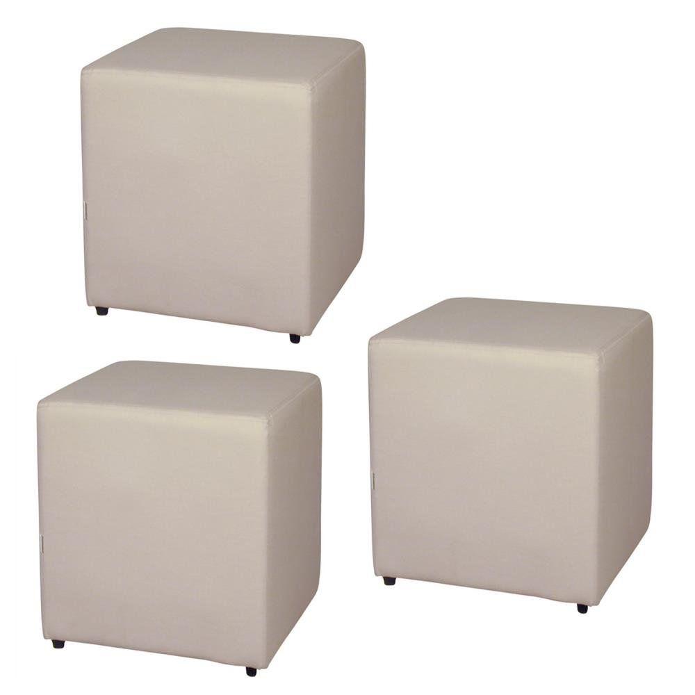Kit 03 Puffs Quadrado L02 Decorativo Corino Bege - Lyam Decor