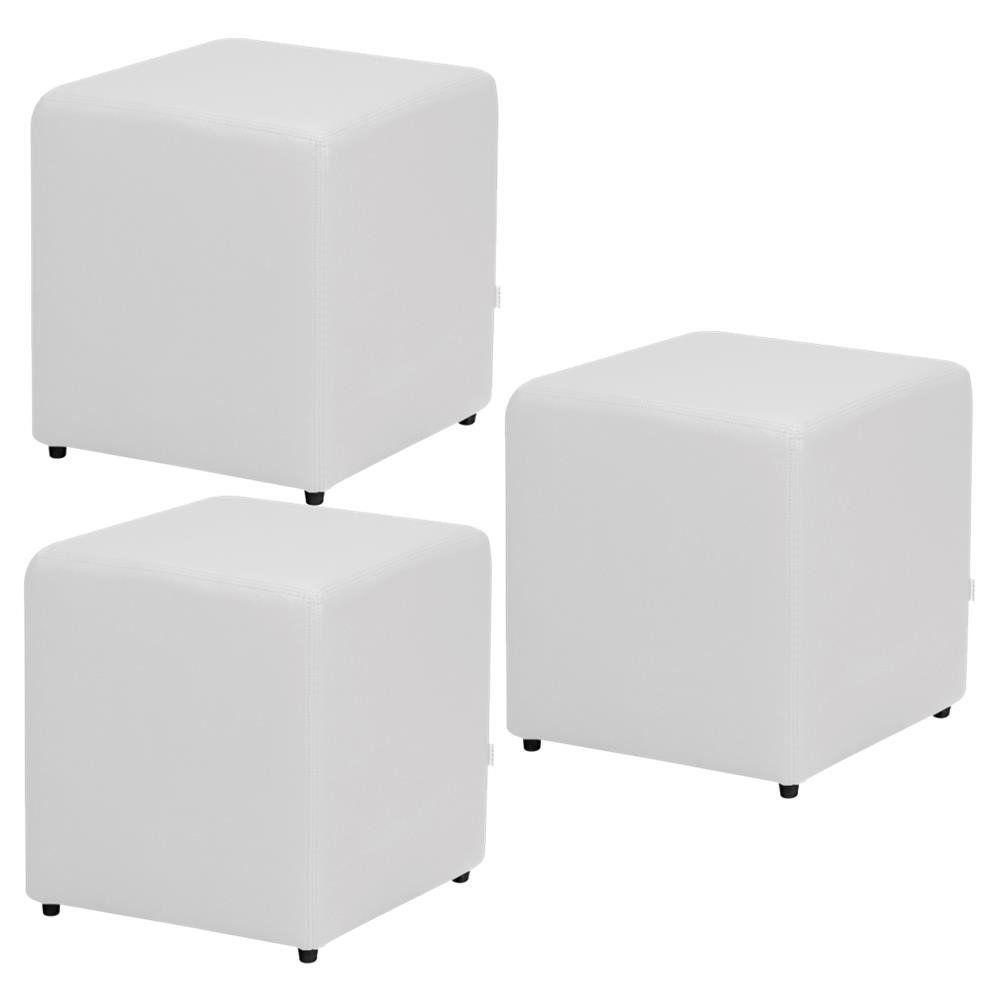 Kit 03 Puffs Quadrado L02 Decorativo Corino Branco - Lyam Decor