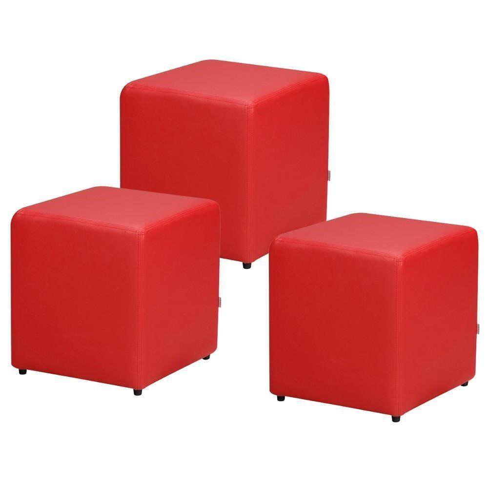 Kit 03 Puffs Quadrado L02 Decorativo Corino Vermelho - Lyam Decor