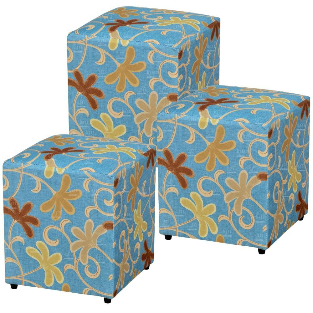Kit 03 Puffs Quadrado L02 Decorativo Suede Floral Azul - Lyam Decor