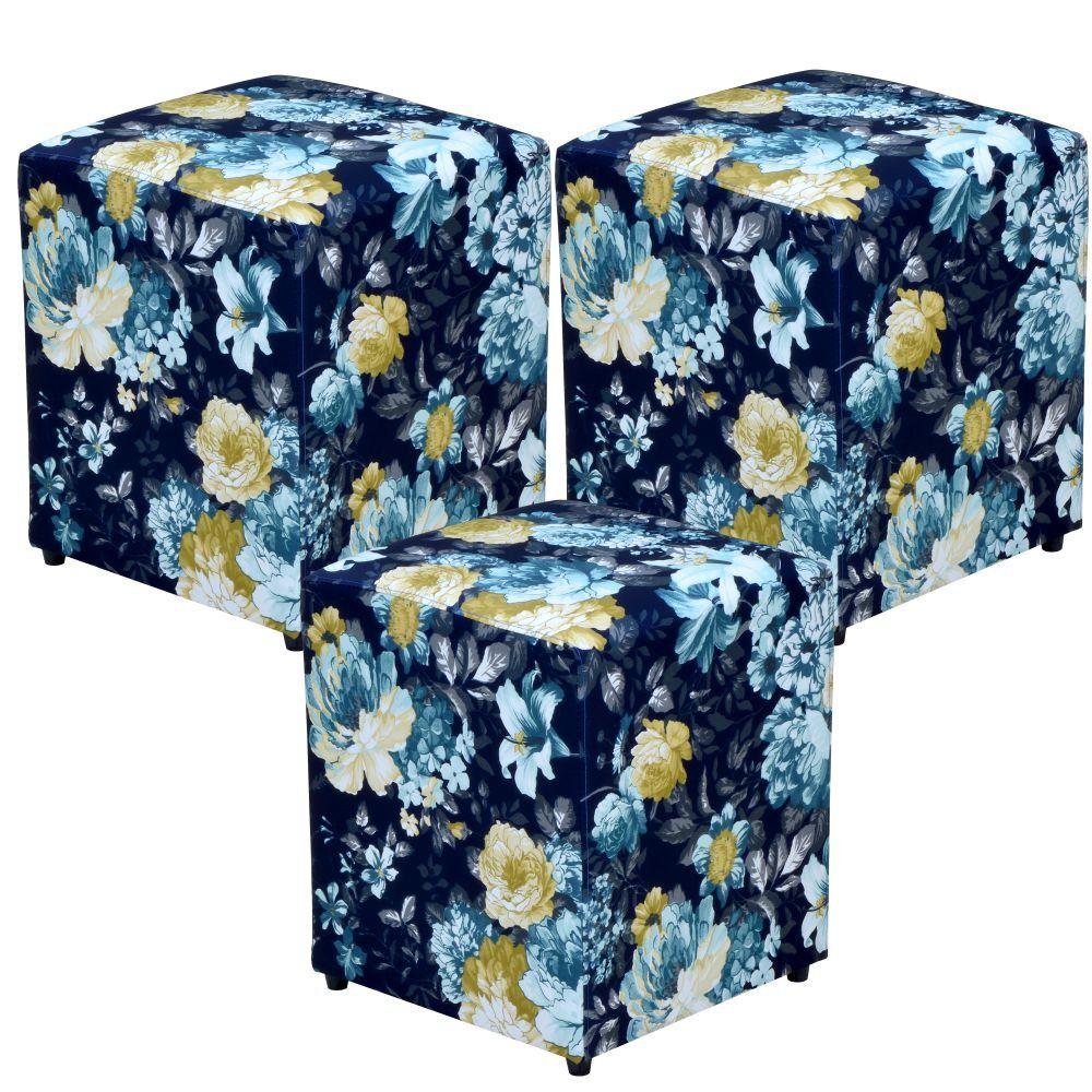 Kit 03 Puffs Quadrado L02 Decorativo Tecido Azul Estampado - Lyam Decor