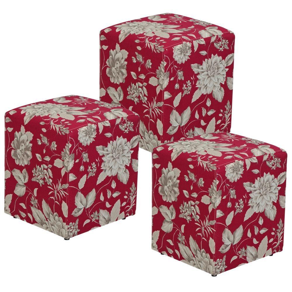 Kit 03 Puffs Quadrado L02 Decorativo Tecido Cinza Vermelho - Lyam Decor