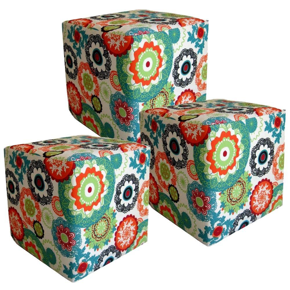 Kit 03 Puffs Quadrado L02 Decorativo Tecido Floral Laranja - Lyam Decor