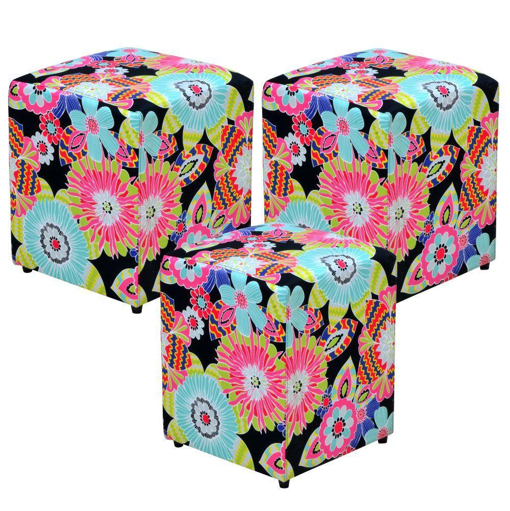 Kit 03 Puffs Quadrado L02 Decorativo Tecido Floral Preto - Lyam Decor