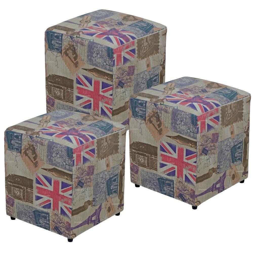 Kit 03 Puffs Quadrado L02 Decorativo Tecido Linho London - Lyam Decor