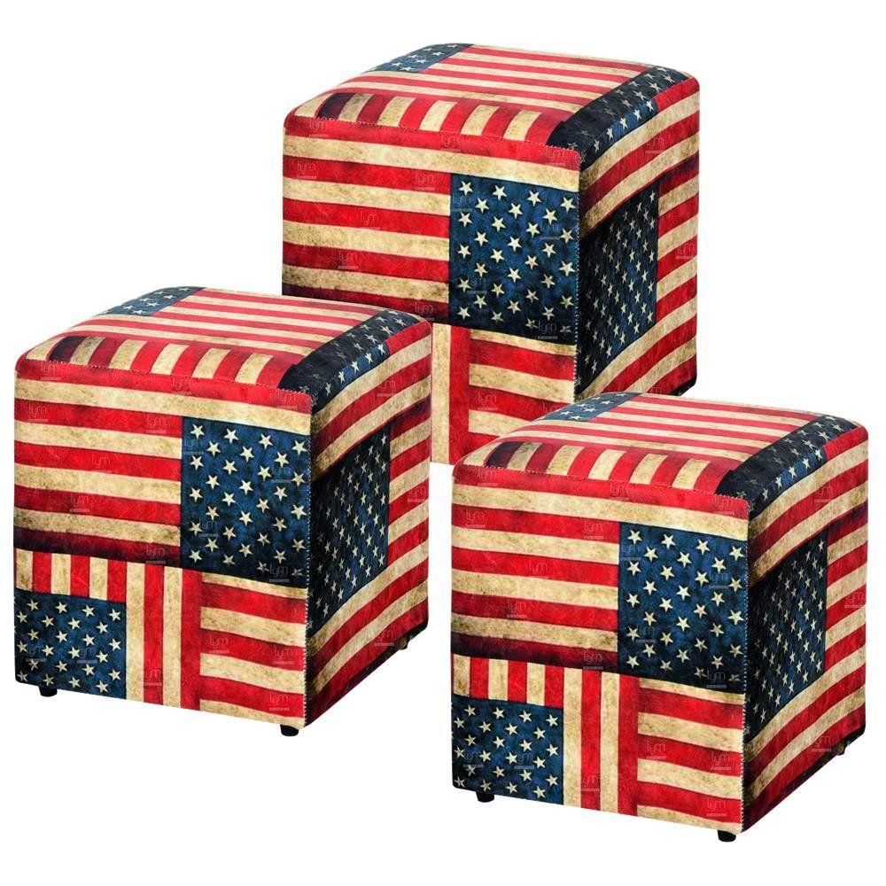 Kit 03 Puffs Quadrado L02 Decorativo Tecido Suede Bandeira - Lyam Decor
