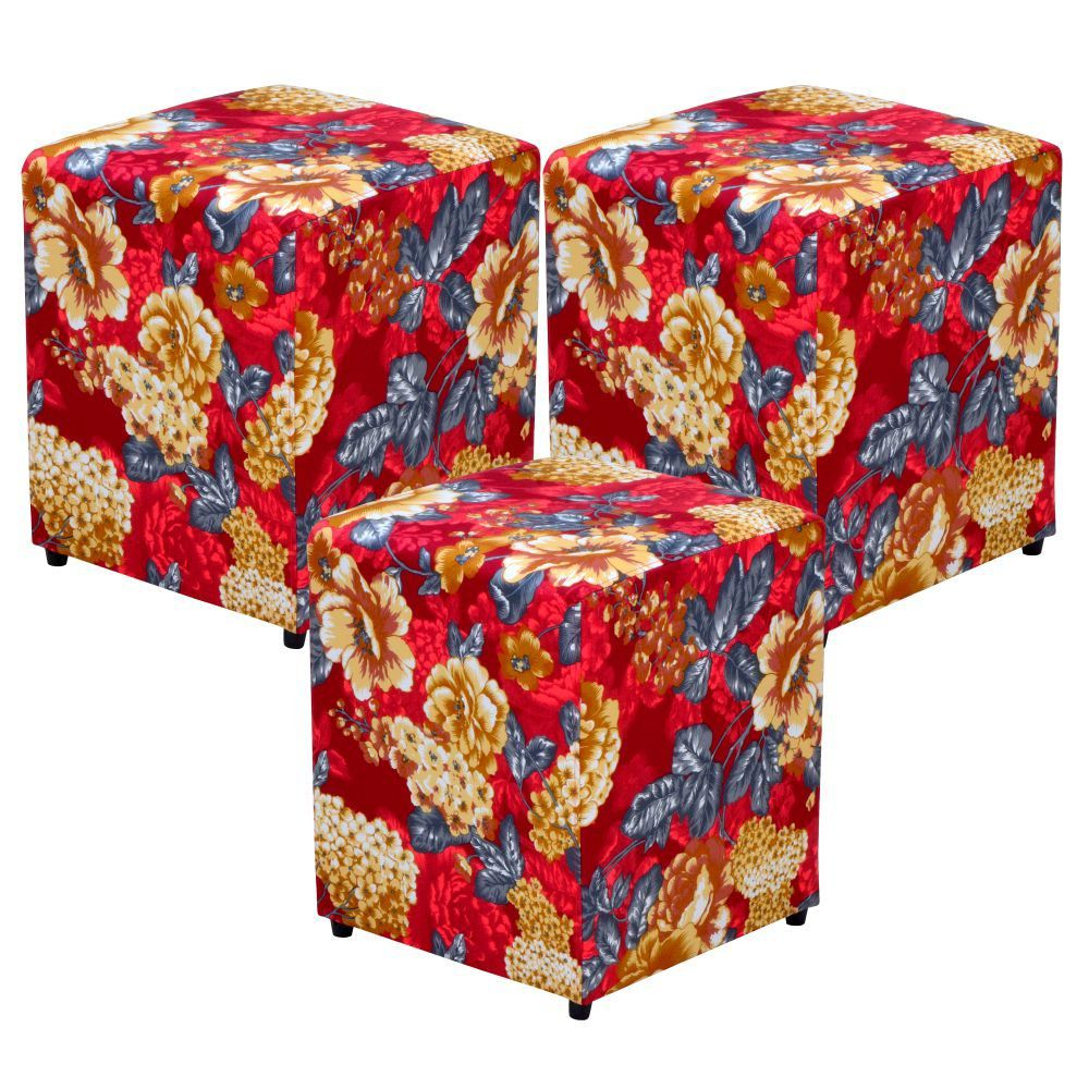 Kit 03 Puffs Quadrado L02 Decorativo Tecido Vermelho Estampado - Lyam Decor