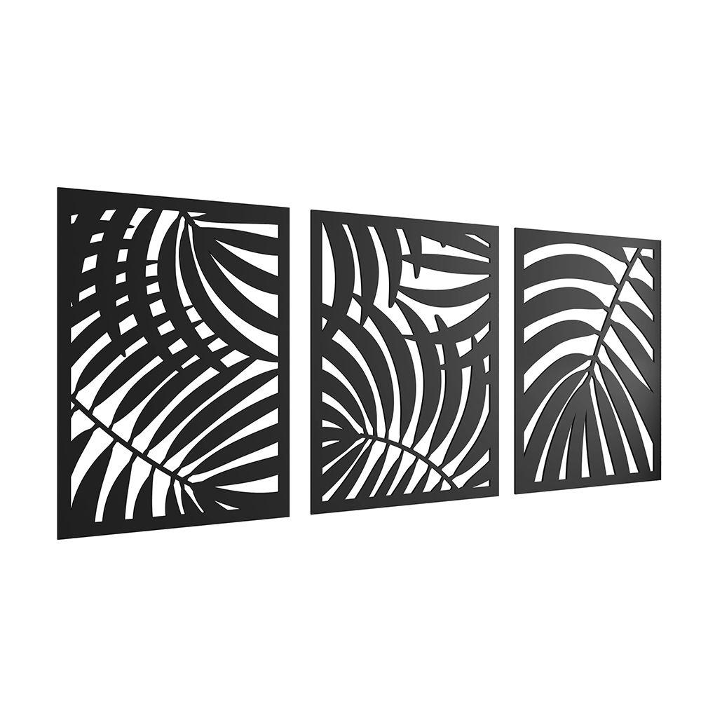 Kit 03 Quadros Decorativos Para Sala Folhagem Tropical I01 Preto - Lyam Decor