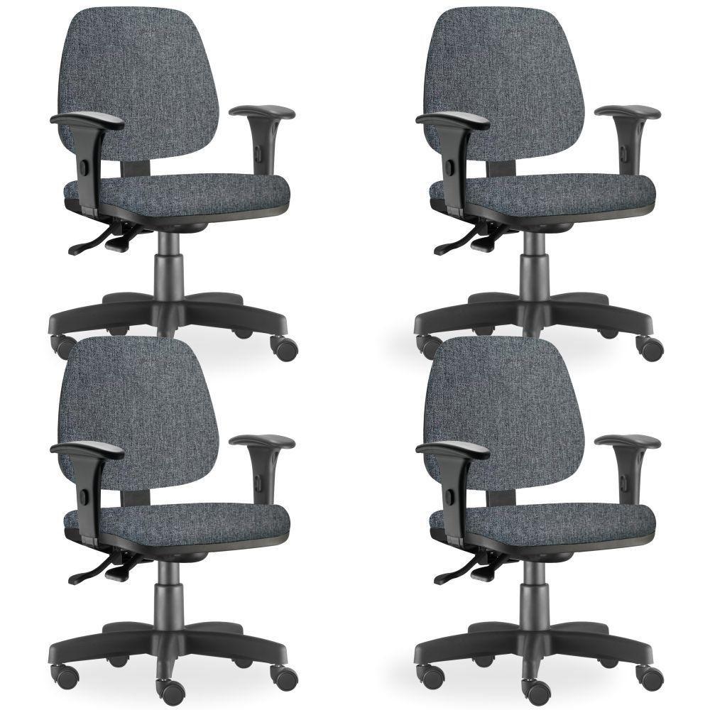 Kit 04 Cadeiras de Escritório Giratória Executiva Ergonômica Job L02 Linho Chumbo - Lyam Decor