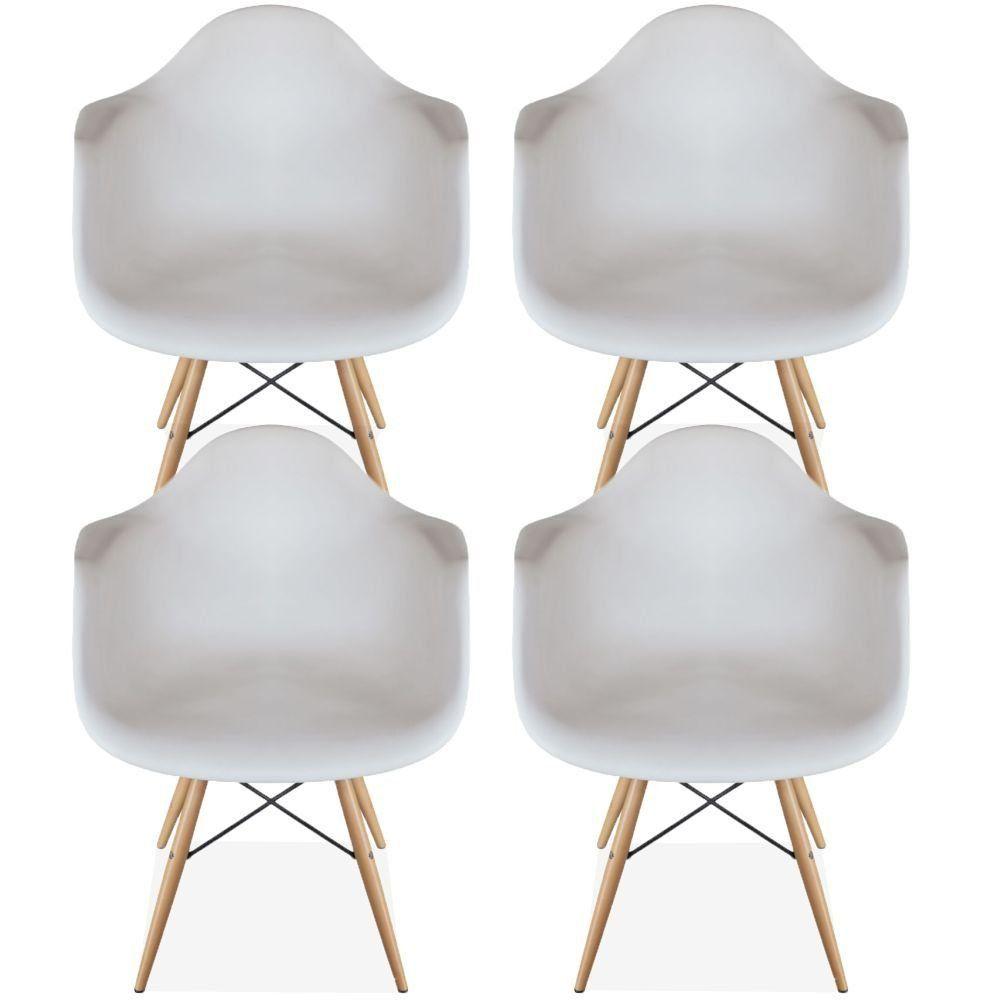 Kit 04 Cadeiras Decorativa Eiffel Melbourne F03 Branco com Pés de Madeira - Lyam Decor