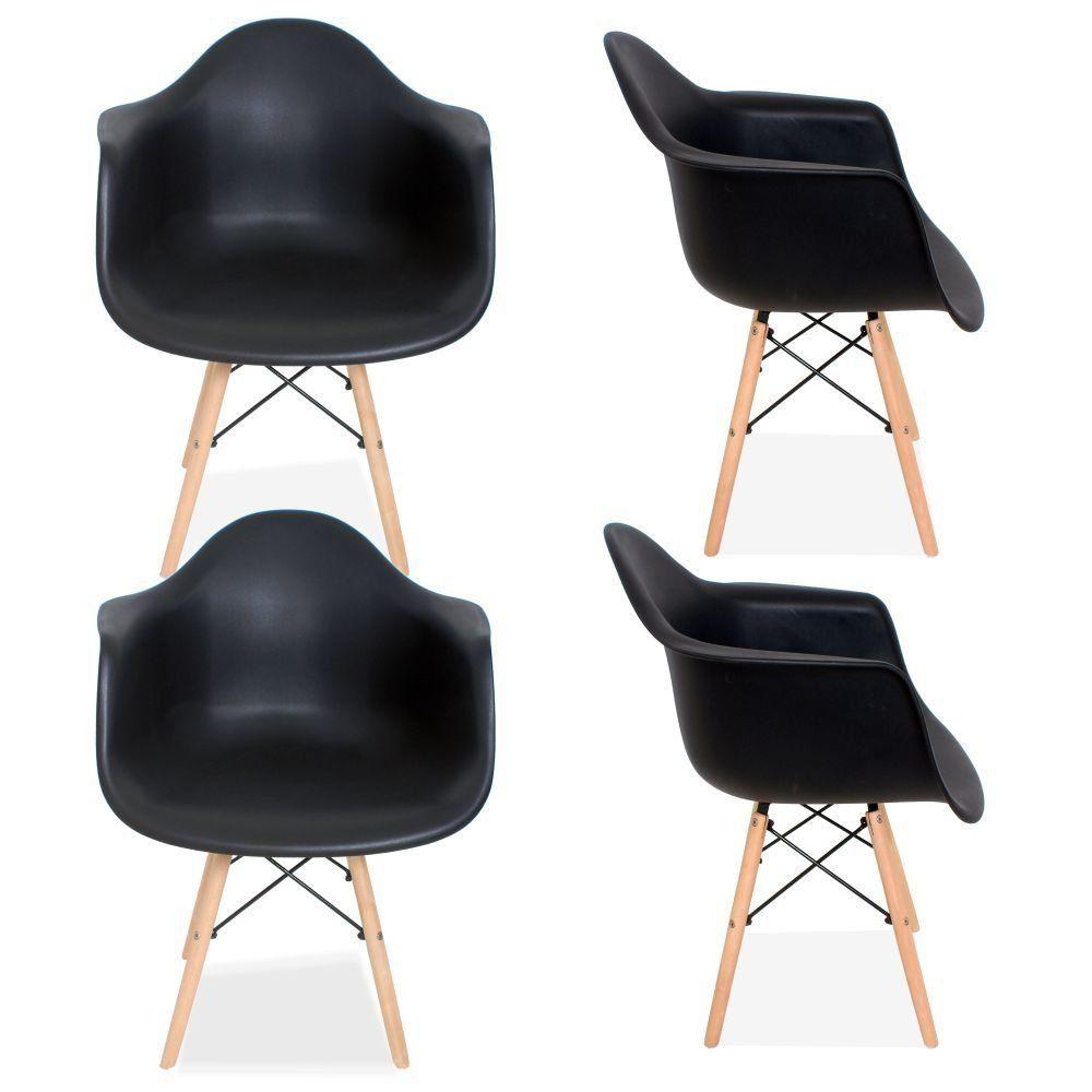 Kit 04 Cadeiras Decorativa Eiffel Melbourne F03 Preto com Pés de Madeira - Lyam Decor