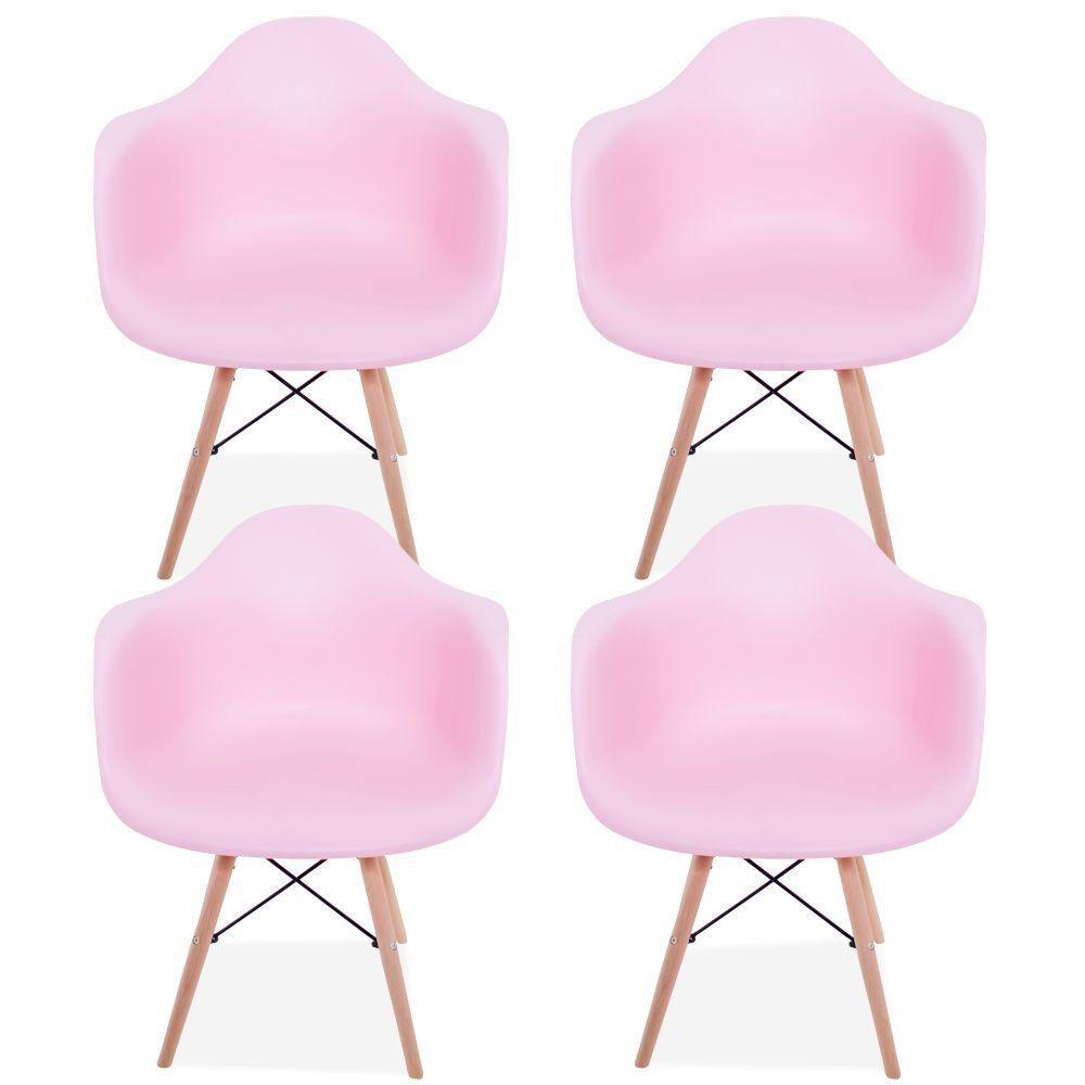 Kit 04 Cadeiras Decorativa Eiffel Melbourne F03 Rosa com Pés de Madeira - Lyam Decor