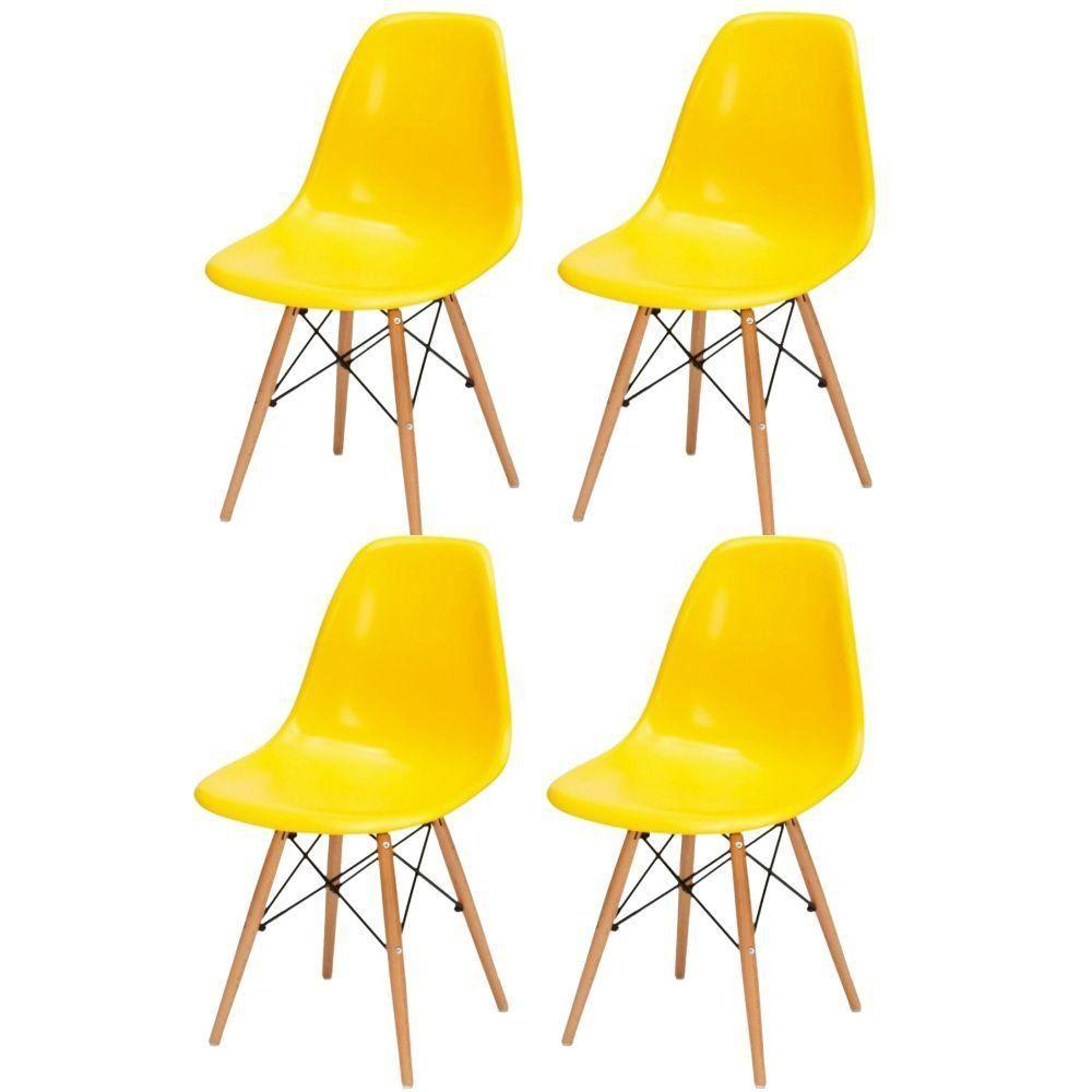 Kit 04 Cadeiras Decorativas Eiffel Charles Eames F03 Amarelo com Pés de Madeira - Lyam Decor