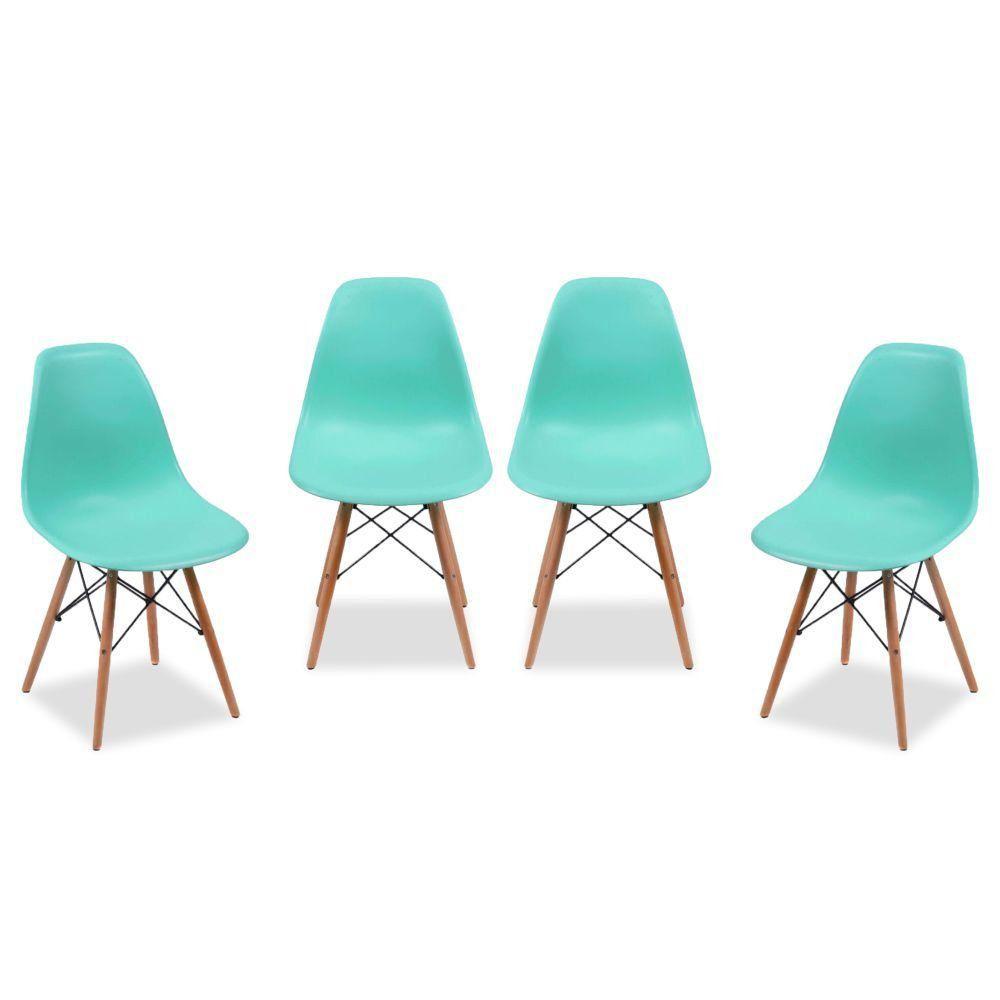 Kit 04 Cadeiras Decorativas Eiffel Charles Eames F03 Azul Claro com Pés de Madeira - Lyam Decor