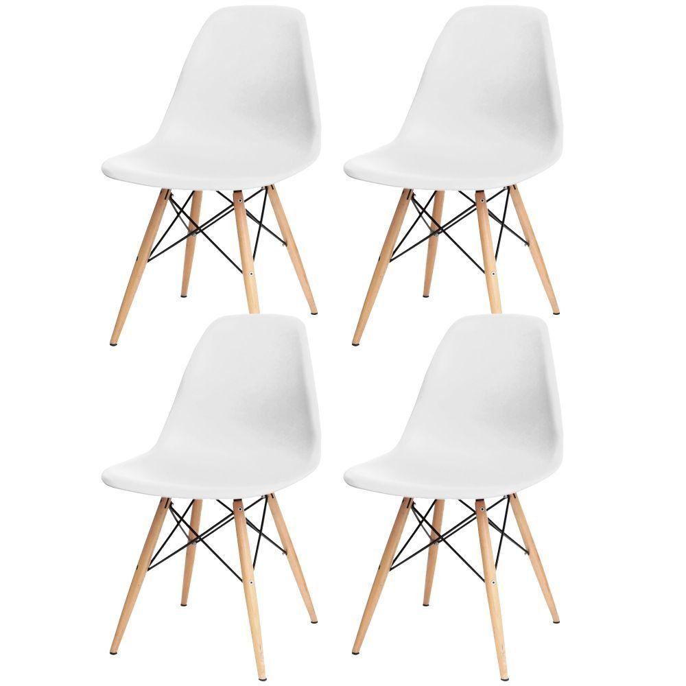 Kit 04 Cadeiras Decorativas Eiffel Charles Eames F03 Branco com Pés de Madeira - Lyam Decor