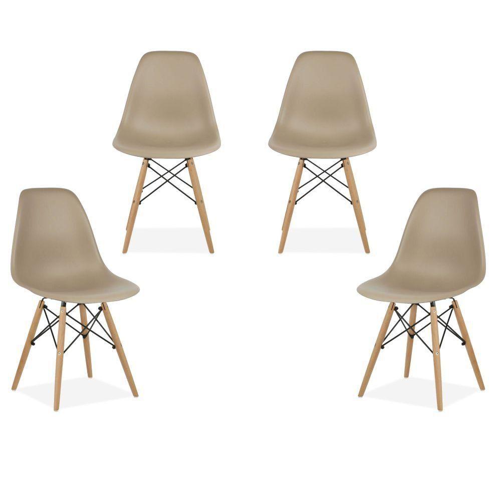 Kit 04 Cadeiras Decorativas Eiffel Charles Eames F03 Nude com Pés de Madeira - Lyam Decor
