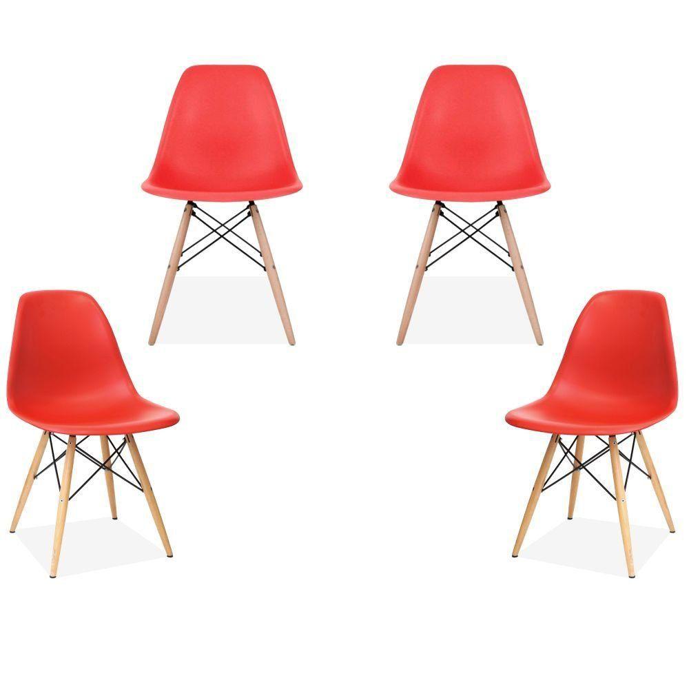 Kit 04 Cadeiras Decorativas Eiffel Charles Eames F03 Vermelho com Pés de Madeira - Lyam Decor