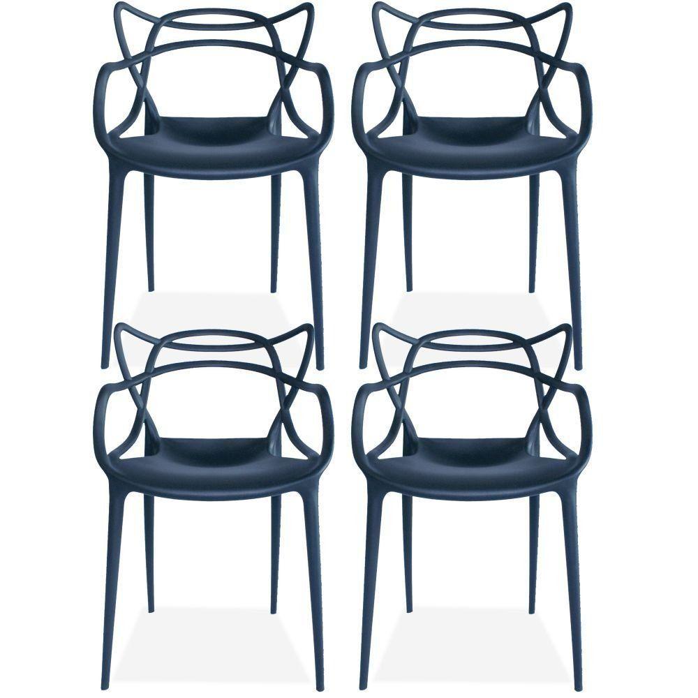 Kit 04 Cadeiras Decorativas Para Sala de Jantar Amsterdam F03 Preto - Lyam Decor