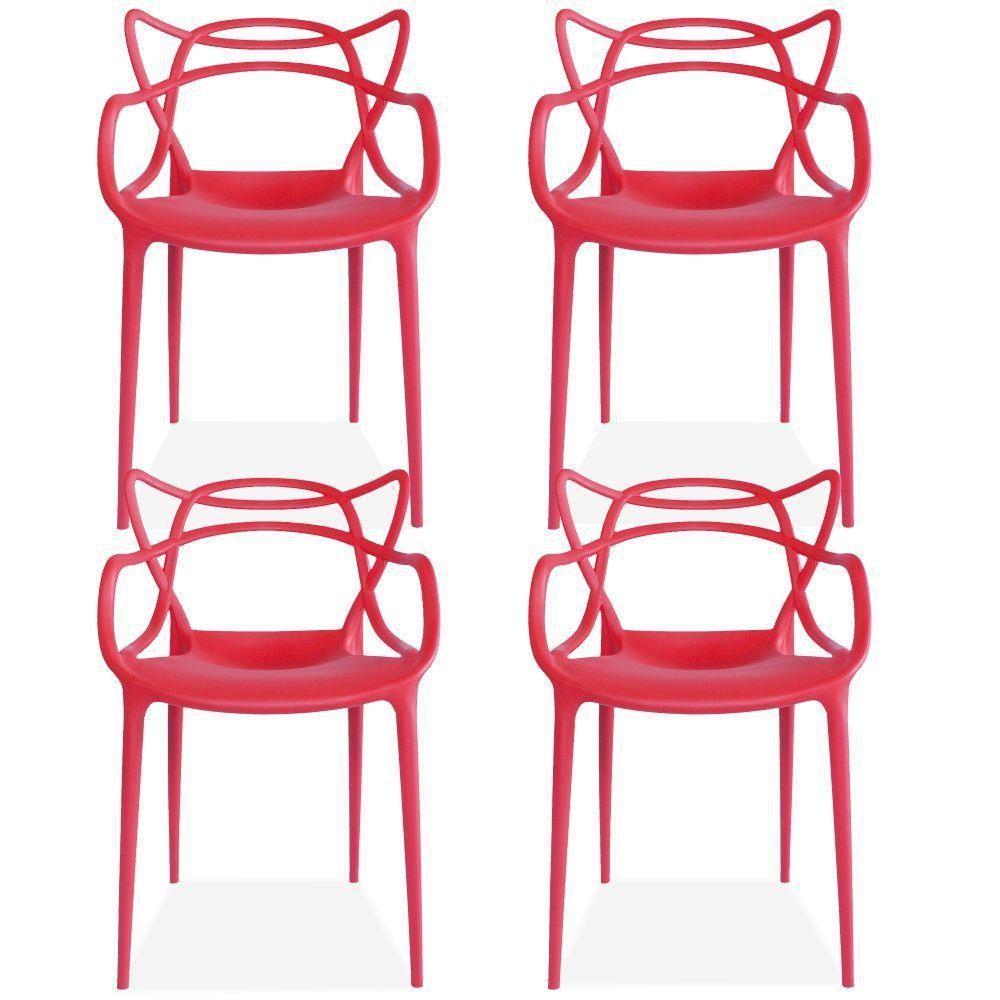 Kit 04 Cadeiras Decorativas Para Sala de Jantar Amsterdam F03 Vermelho - Lyam Decor