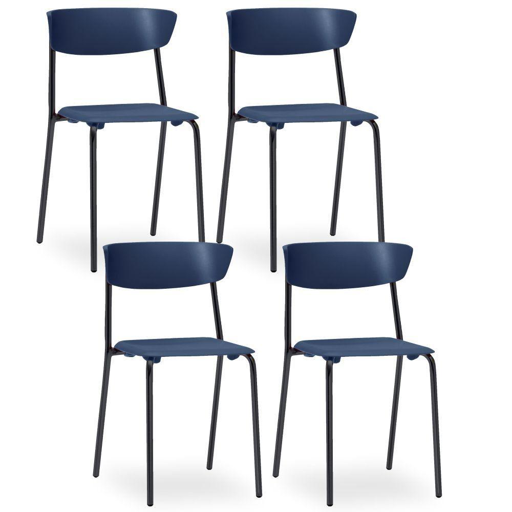 Kit 04 Cadeiras Fixa Base Preta Empilhável Bit F02 Azul Marinho - Lyam Decor