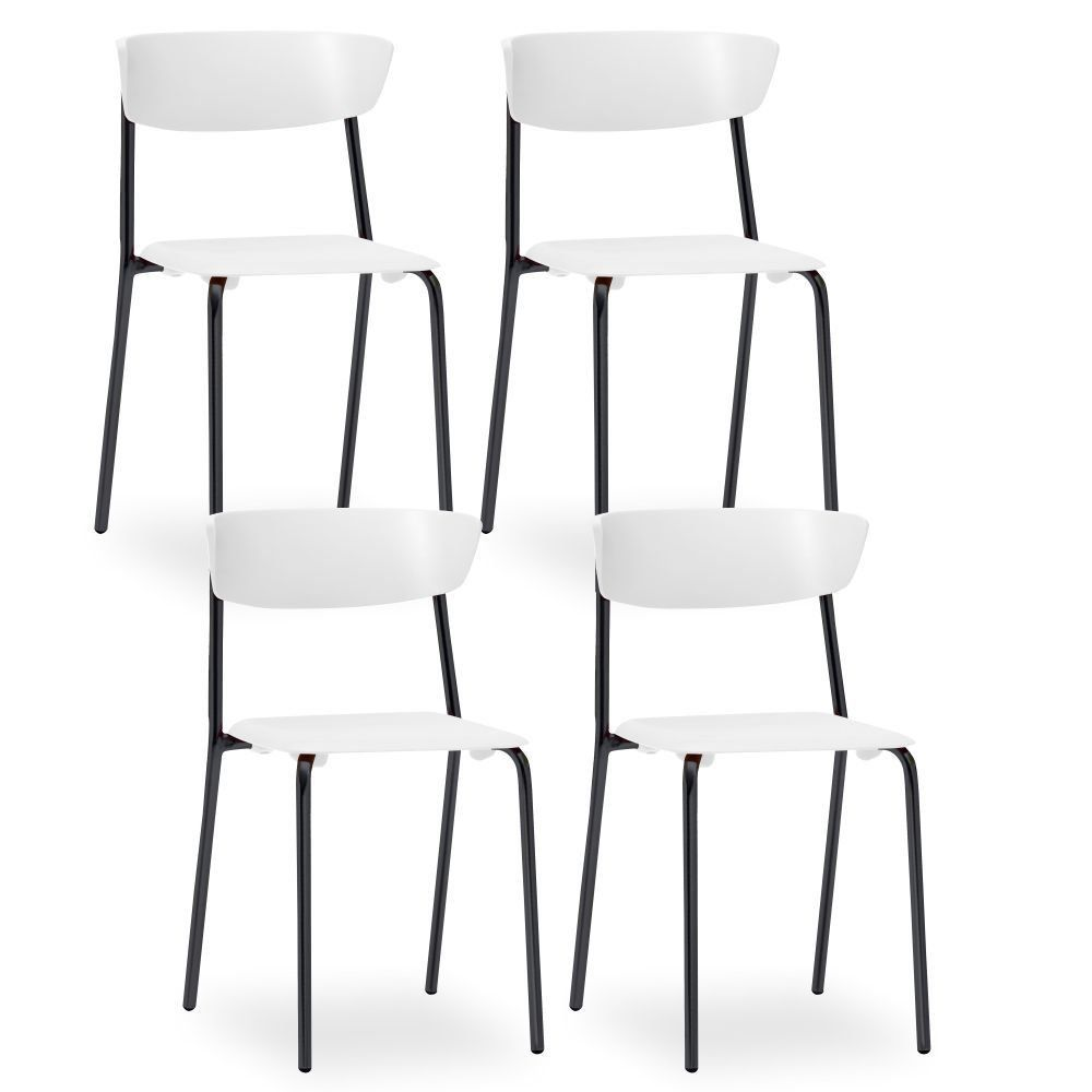 Kit 04 Cadeiras Fixa Base Preta Empilhável Bit F02 Branco - Lyam Decor